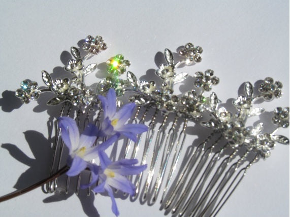 Crystal Flower Hair Combs