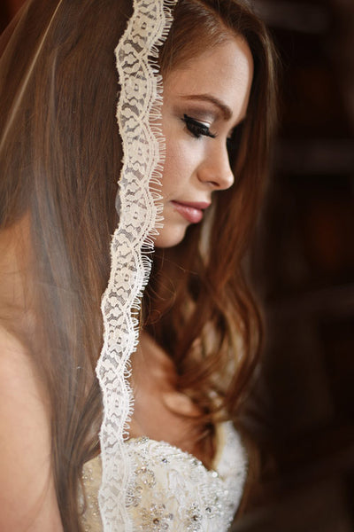 Strapless Embellished Lace Trumpet Wedding Gown