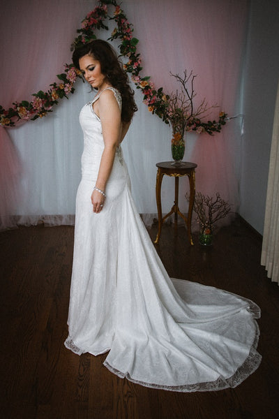 Backless Sheath Wedding Gown