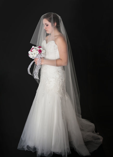 "Drop Veil, Cathedral length Veil, Wedding Veil, Blusher, 130"" Bridal Veil"