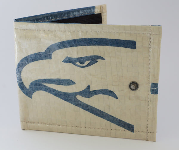 Recycled / Upcycled Bifold Wallet. Handmade in Cambodia from recycled cement sacks. Eagle Design