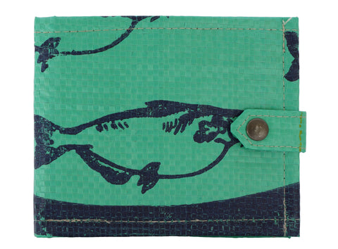 Recycled / Upcycled Bifold Wallet. Handmade in Cambodia from recycled fish food sacks. Green Fish Design. With/Without stud fastening