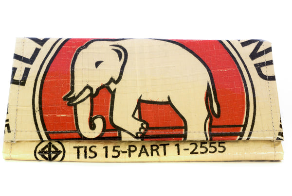 Recycled / Upcycled Ladies Purse. Handmade in Cambodia from recycled cement sacks. Elephant Design