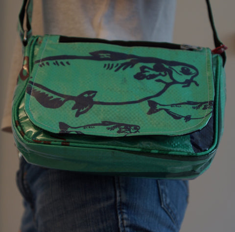 Recycled / Upcycled Ladies Handbag. Handmade in Cambodia from recycled fish feed sacks. Green fish Design