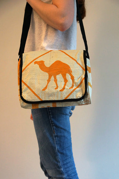 Recycled / Upcycled Medium Sized Handbag. Handmade in Cambodia from a recycled cement sack. Camel Design