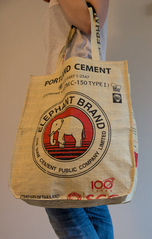 Recycled / Upcycled Shopping Bag. Handmade in Cambodia from a recycled cement sack.