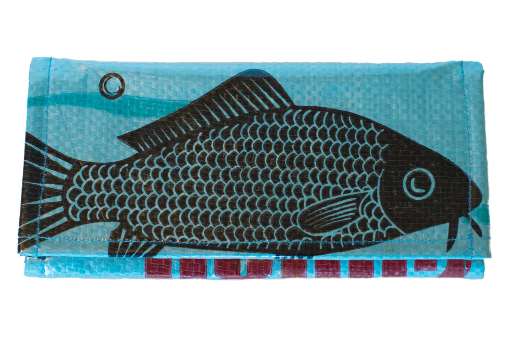 Recycled / Upcycled Ladies Purse. Handmade in Cambodia from recycled fish feed sacks. Blue Fish Design