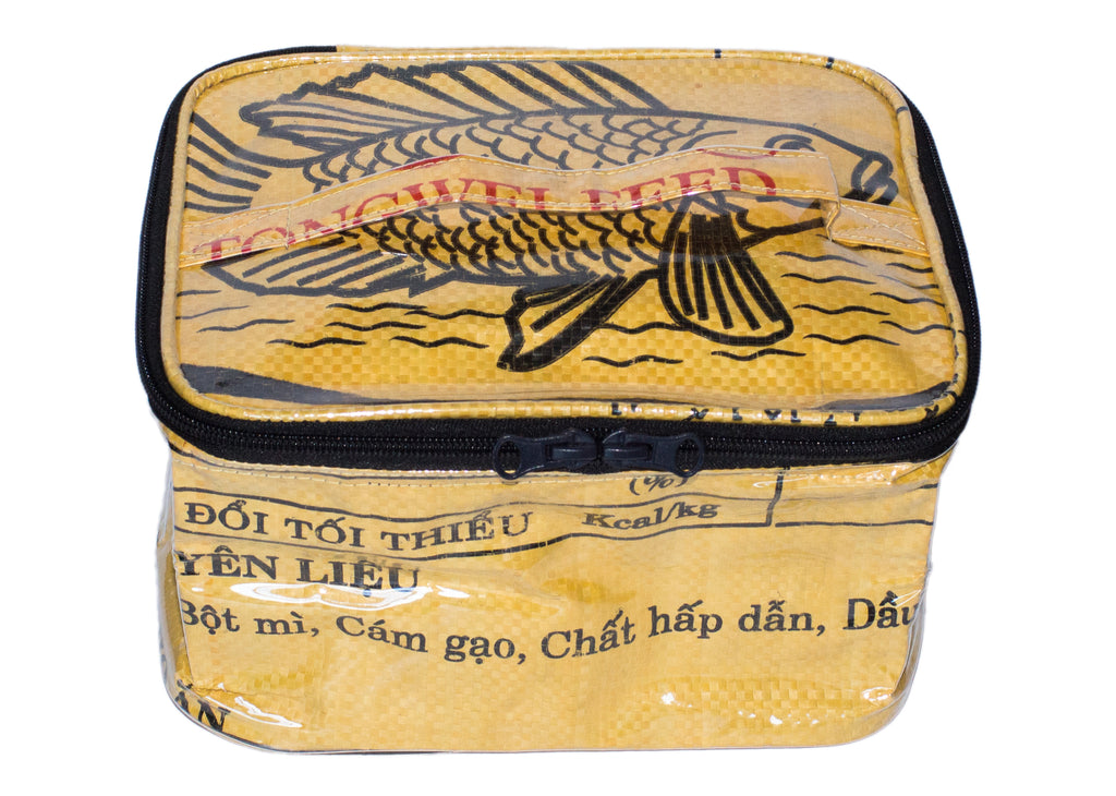Recycled / Upcycled Make-Up/Toiletries Bag. Handmade in Cambodia from recycled cement sacks. Fish Design