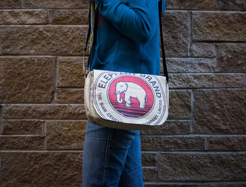 Recycled / Upcycled Handbag. Handmade in Cambodia from a recycled cement sack. Elephant Design