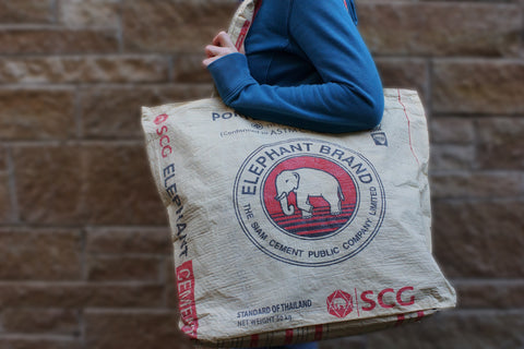 Recycled / Upcycled Extra Large Shopping Bag. Handmade in Cambodia from a recycled cement sack.