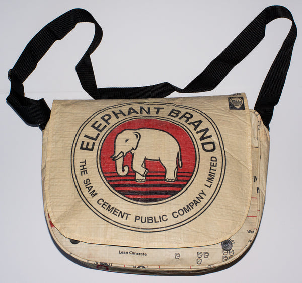 Recycled / Upcycled Large Handbag/Messenger Bag. Handmade in Cambodia from a recycled cement sack. Elephant Design