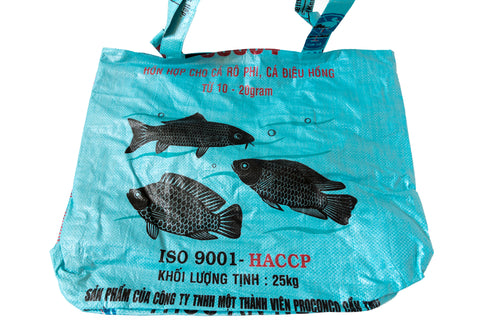 Recycled / Upcycled Extra Large Shopping Bag. Handmade in Cambodia from a recycled fish feed sack.
