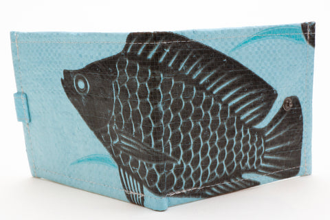 Recycled / Upcycled Bifold Wallet. Handmade in Cambodia from recycled fish feed sacks. Blue Fish Design