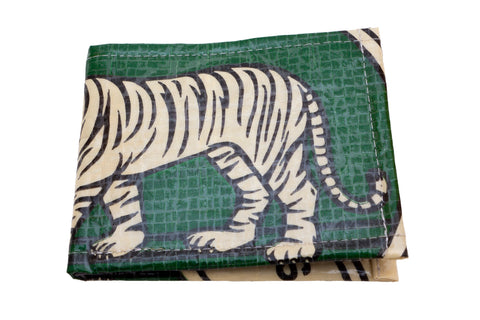 Recycled / Upcycled Bifold Wallet. Handmade in Cambodia from recycled cement sacks. Green Tiger Design