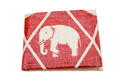 Recycled / Upcycled Bifold Wallet. Handmade in Cambodia from recycled cement sacks. Elephant Design