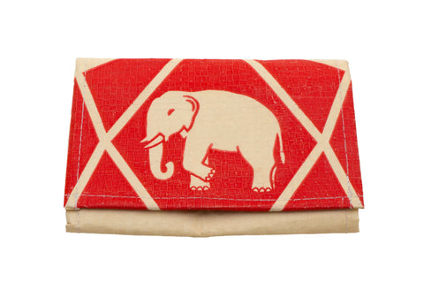 Recycled / Upcycled Medium Purse. Handmade in Cambodia from recycled cement sacks. Elephant Design