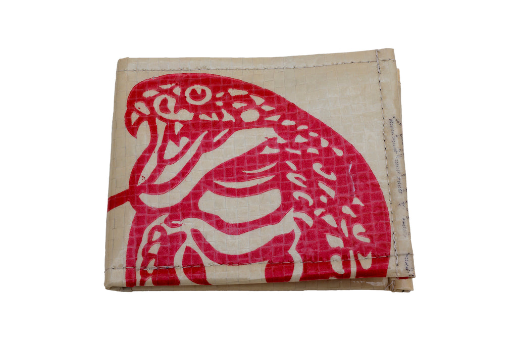 Recycled / Upcycled Bifold Wallet. Handmade in Cambodia from recycled cement sacks. Cobra Design