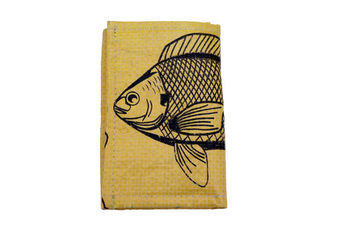 Recycled / Upcycled Trifold Wallet / Purse. Handmade in Cambodia from recycled fish feed sacks. Yellow Fish Design