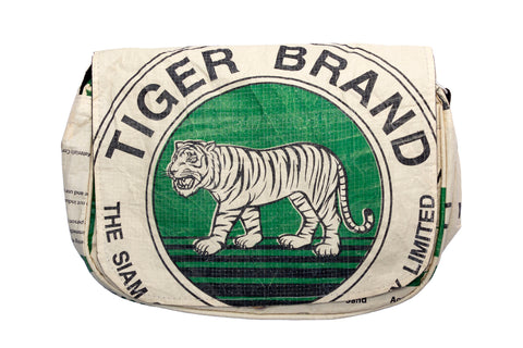 Recycled / Upcycled Handbag. Handmade in Cambodia from a recycled cement sack. Green Tiger Design
