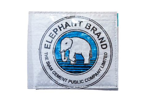 Recycled / Upcycled Bifold Wallet. Handmade in Cambodia from recycled cement sacks. Elephant Design, Blue