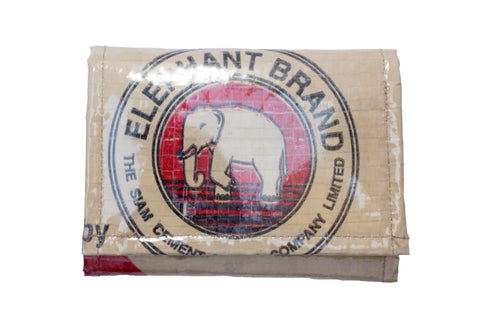 Recycled / Upcycled Trifold Wallet / Purse. Handmade in Cambodia from recycled cement sacks. Elephant Design