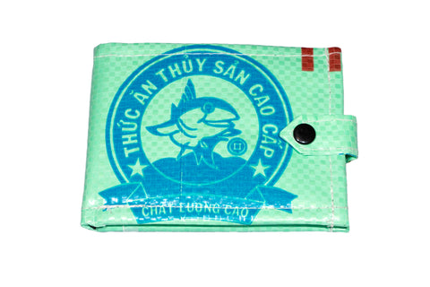 Recycled / Upcycled Bifold Wallet. Handmade in Cambodia from recycled fish food sacks. Green Shark Design