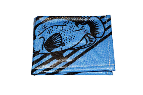 Recycled / Upcycled Bifold Wallet. Handmade in Cambodia from recycled fish feed sacks. Dark Blue Fish Design