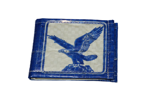 Recycled / Upcycled Bifold Wallet. Handmade in Cambodia from recycled cement sacks. Eagle Design II