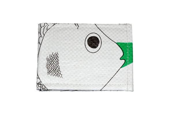 Recycled / Upcycled Bifold Wallet. Handmade in Cambodia from recycled fish food sacks. White Fish Design