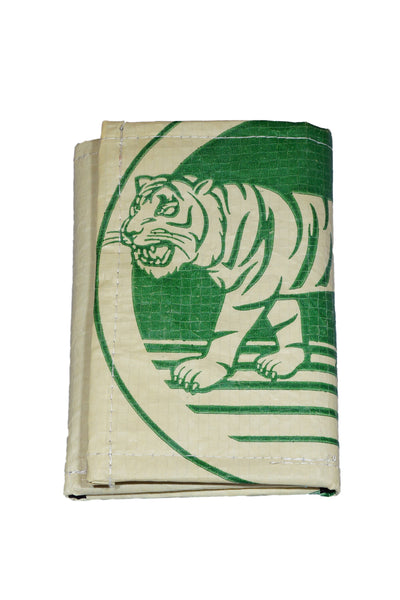 Recycled / Upcycled Trifold Wallet / Purse. Handmade in Cambodia from recycled cement sacks. Green Tiger Design