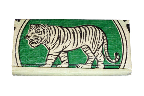 Recycled / Upcycled Ladies Purse. Handmade in Cambodia from recycled cement sacks. Green Tiger Design