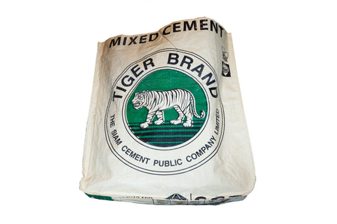 Recycled / Upcycled Shopping Bag. Handmade in Cambodia from a recycled cement sack. Green Tiger Design
