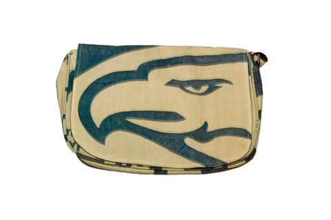 Recycled / Upcycled Handbag. Handmade in Cambodia from a recycled cement sack. Eagle Design