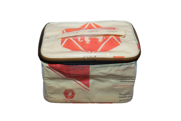 Recycled / Upcycled Make-Up/Toiletries Bag. Handmade in Cambodia from recycled cement sacks. Elephant Design