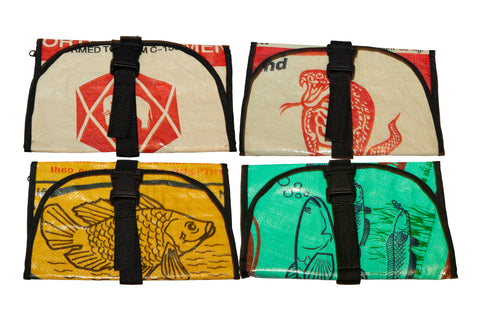 Recycled / Upcycled Toiletries Bag. Handmade in Cambodia from recycled cement sacks. Various Designs