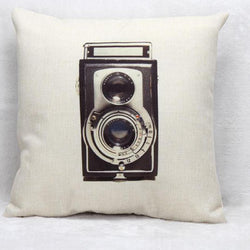 Antique Camera Linen Cushion, GIFTS FOR PHOTOGRAPHER - Vintage In Blue
