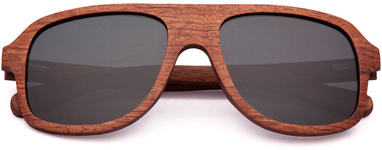 Wood Worn Altitude Aviators Wooden Sunglasses in Red Rosewood with grey lenses