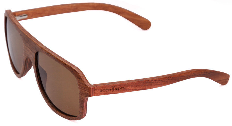 Wood Worn Altitude Aviators Wooden Sunglasses in Red Rosewood with brown lenses isometric view