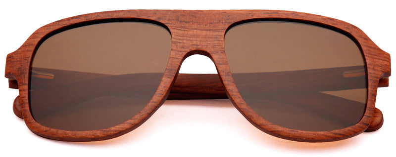 Wood Worn Altitude Aviators Wooden Sunglasses in Red Rosewood with brown lenses