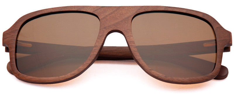Wood Worn Altitude Aviators Wooden Sunglasses in Black Walnut with brown lenses