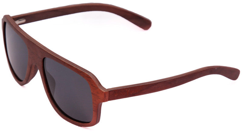 Wood Worn Altitude Aviators Wooden Sunglasses in Red Rosewood with dark grey lenses isometric view