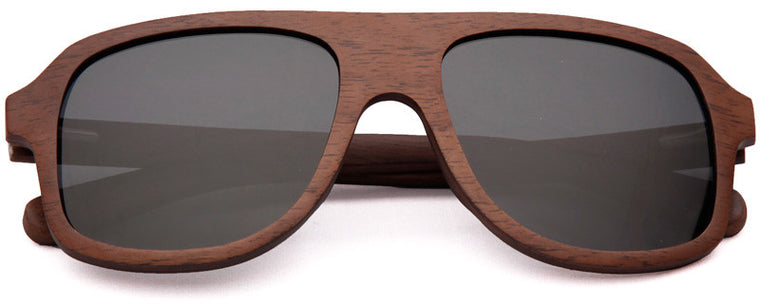 Wood Worn Altitude Aviators Wooden Sunglasses in Black Walnut with dark grey lenses