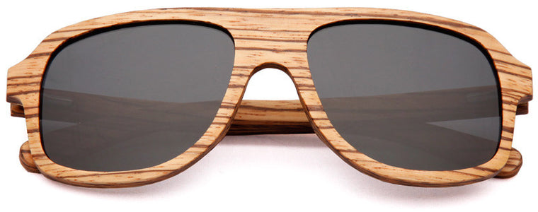 Wood Worn Altitude Aviators Wooden Sunglasses in Zebrawood with dark grey lenses