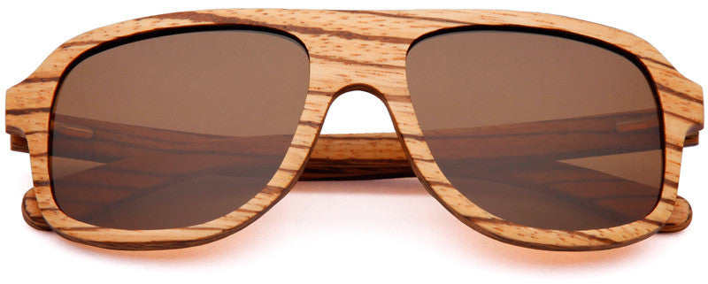 Wood Worn Altitude Aviators Wooden Sunglasses in Zebrawood with brown lenses