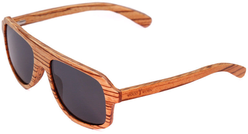 Wood Worn Altitude Aviators Wooden Sunglasses in Zebrawood with dark grey lenses isometric view