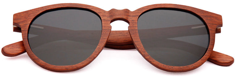 Wood Worn Cosmopolitan vintage Wooden Sunglasses in Red Rosewood with dark grey lenses