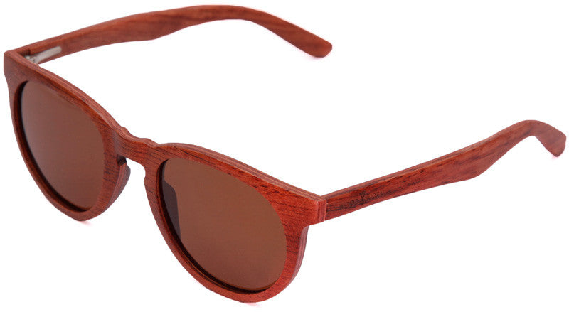 Wood Worn Cosmopolitan Vintage Wooden Sunglasses in Rosewood with brown lenses isometric view