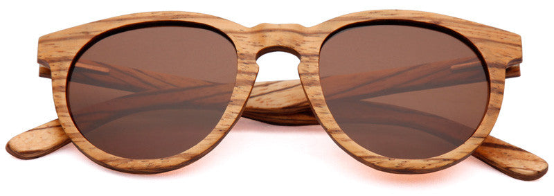 Wood Worn Cosmopolitan vintage Wooden Sunglasses in Zebrawood with brown lenses