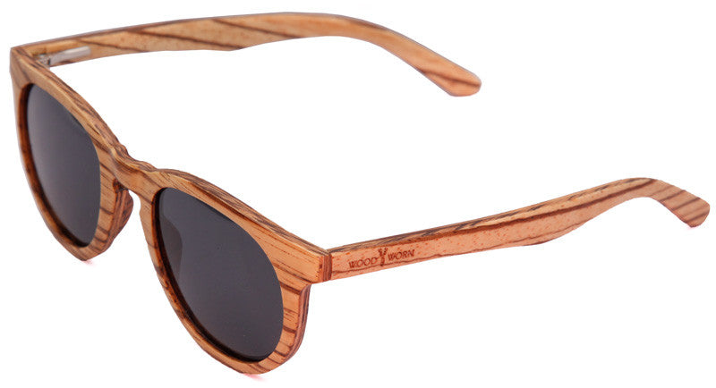 Wood Worn Cosmopolitan Vintage Wooden Sunglasses in Zebrawood with dark grey lenses isometric view