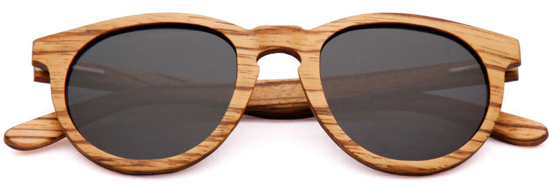 Wood Worn Cosmopolitan vintage Wooden Sunglasses in Zebrawood with dark grey lenses